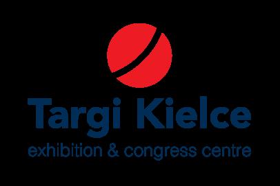 Dwie półkule i czerwony punkt po środku - nowe logo Targów Kielce